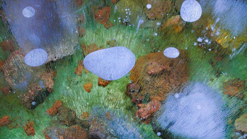 熔岩床国家纪念碑中熔岩管里的冰,加利福尼亚州