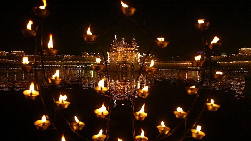 Oil lamps on the birth anniversary of Sikh founder Guru Nanak Dev