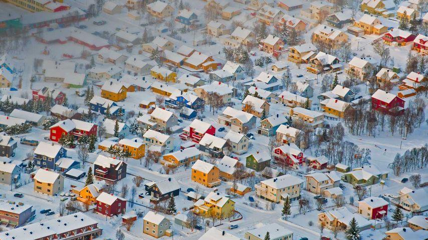 特罗姆瑟的色彩缤纷的房子,挪威