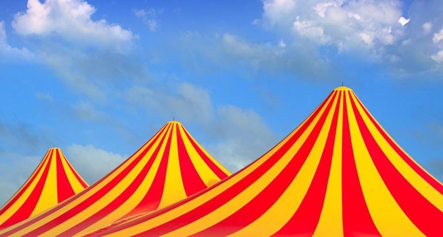 Red and yellow stripped pattern circus tent