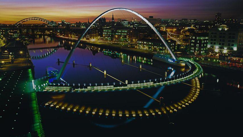 Gateshead Millennium Bridge in Newcastle upon Tyne, England