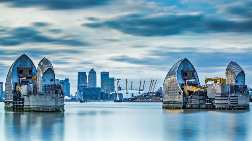 The Thames Barrier in London, England