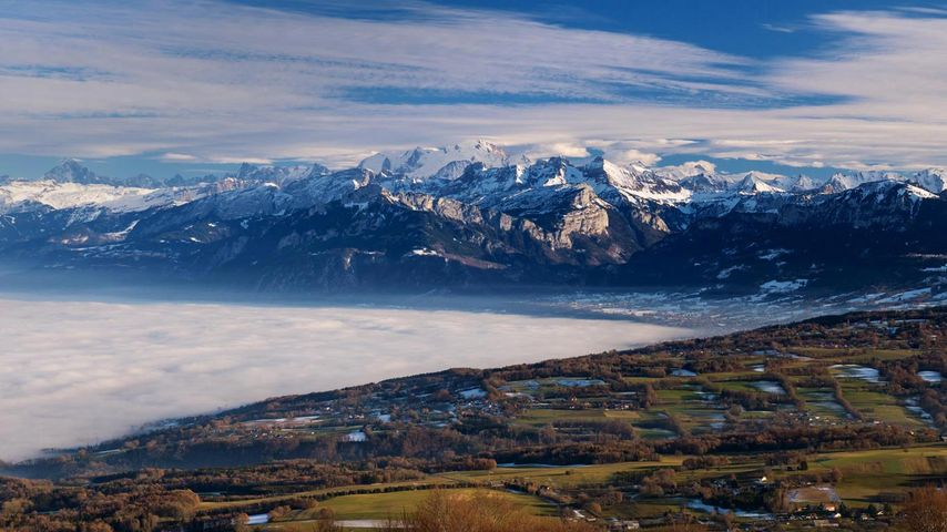 The Mont Blanc massif, seen from Mont Salève, France