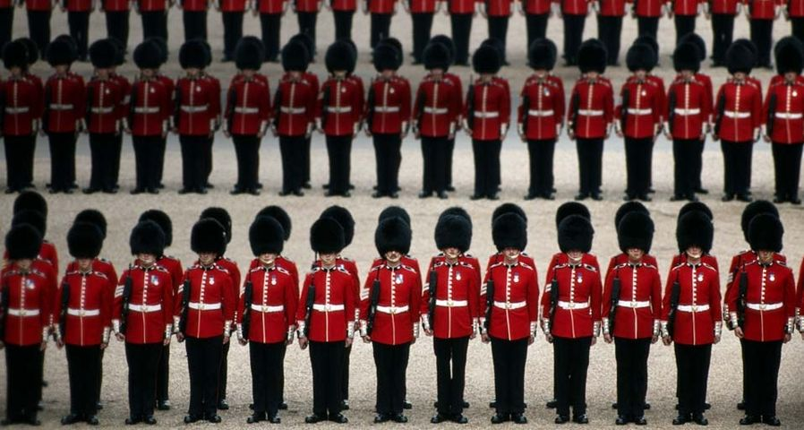 Buckingham palace guards in line in london