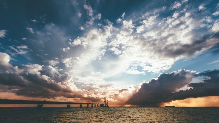 sky outdoor cloud water beach ship sun lake