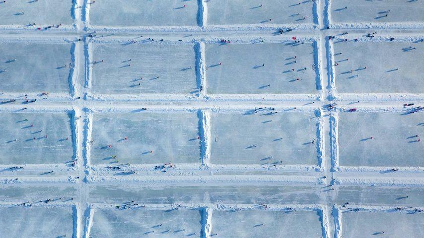 美国,威斯康星州,在鹰河镇金湖上举办的美国池塘曲棍球全国锦标赛