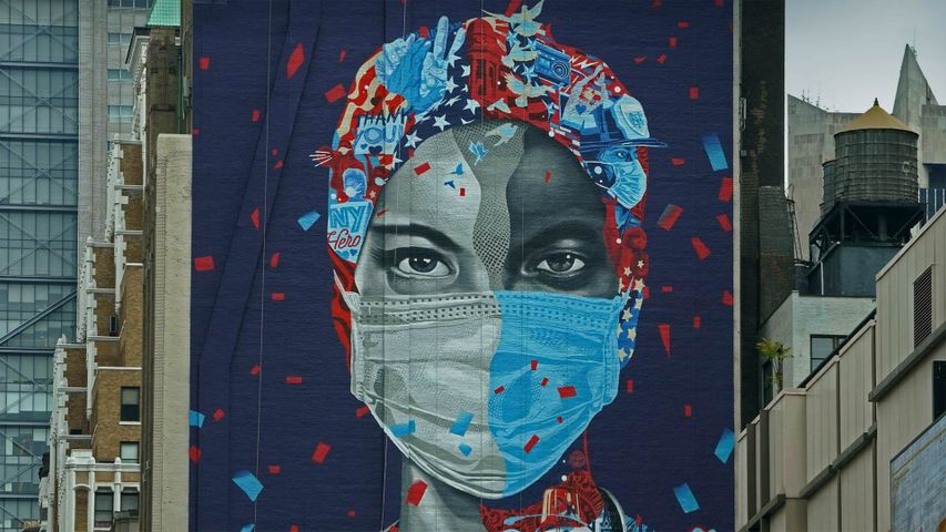 'Now & Forever,' a mural by Tristan Eaton honoring health care workers, May 11, 2020, in New York City