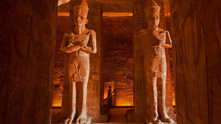 The interior of the Abu Simbel Great Temple in Egypt