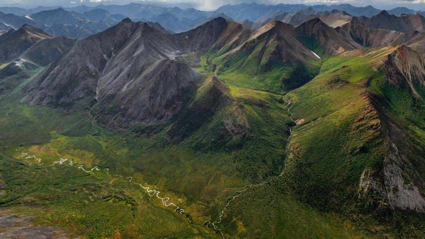 Rugged peaks and braided rivers in the Peel Watershed, Yukon
