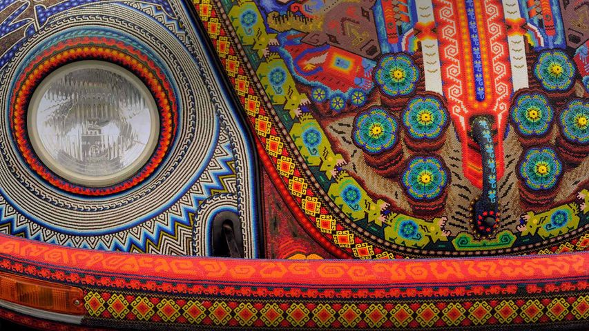 The Vochol, a Volkswagen Beetle decorated with traditional Huichol beadwork
