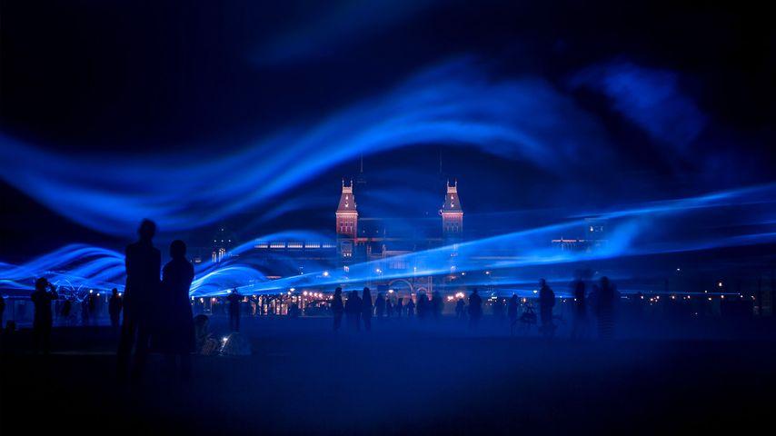 'Waterlicht' art installation at Museumplein (Museum Square) in Amsterdam, Netherlands