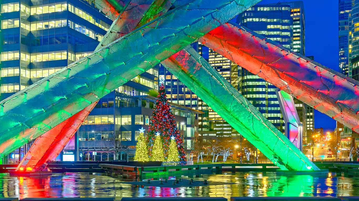 Olympic Cauldron and Christmas trees, Jack Poole Plaza ...