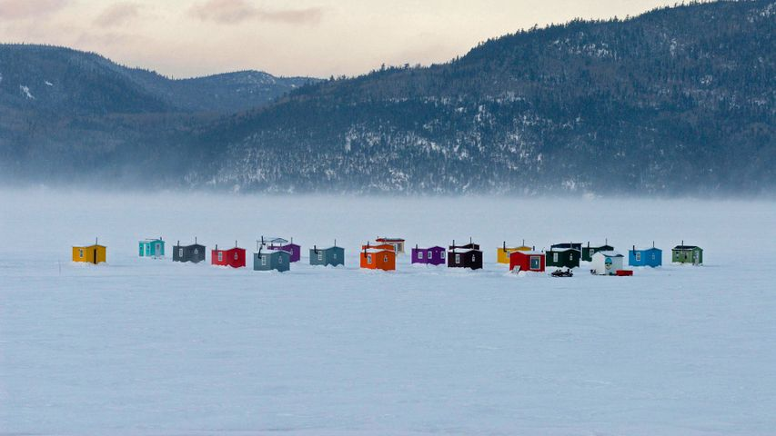 Ice-fishing village near L'Anse-Saint-Jean, Quebec, Canada