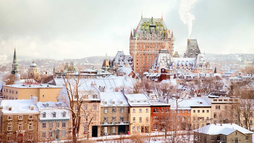 Winter Skyline featuring the Château Frontenac tower, Quebec City