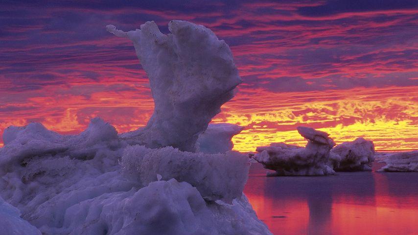 Ice flows on Hudson Bay, Churchill, Manitoba