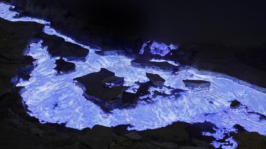 Flaming sulphur from Kawah Ijen volcano, Indonesia
