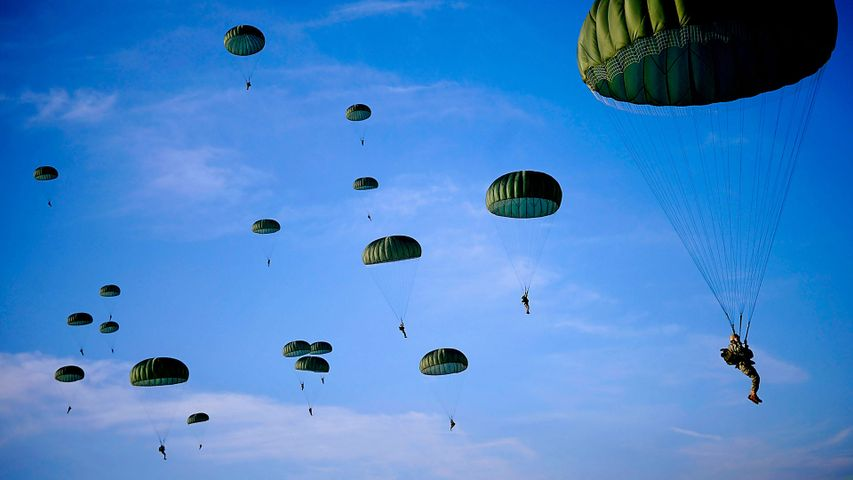 Paratroopers fill the skies over Fort Bragg in North Carolina, for Operation Toy Drop