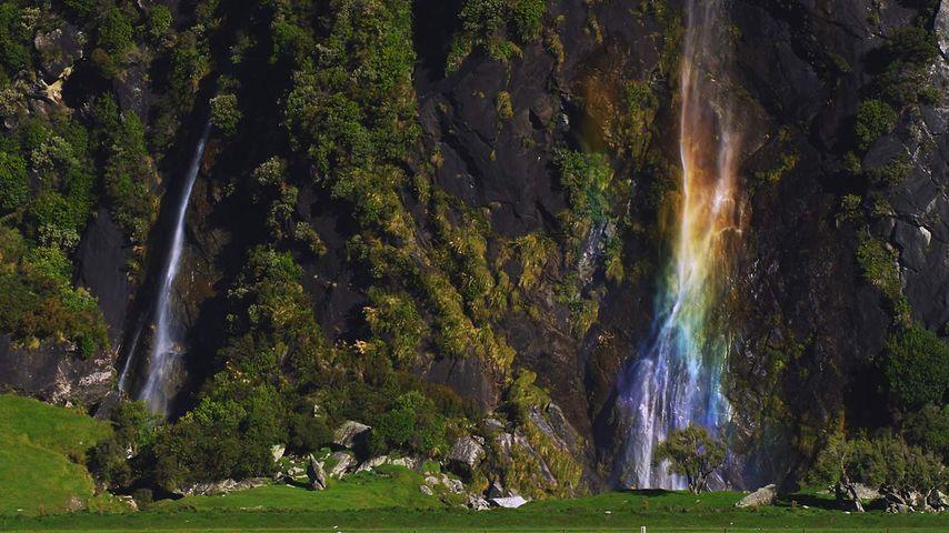 Wishbone Falls at Mount Aspiring National Park on South Island, New Zealand