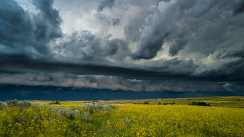 A thunderstorm rolls across the Theodore Roosevelt National Park in North Dakota