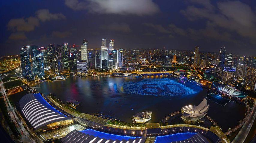 「50周年記念のマリーナ・ベイ」シンガポール