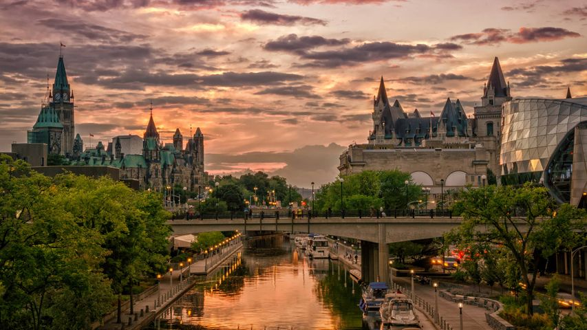 Rideau Canal at sunset with Chateau Laurier in the background, Ottawa