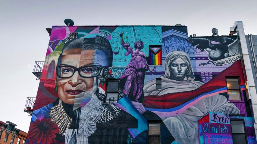 View of the Notorious RBG mural by the street artist Elle in New York City