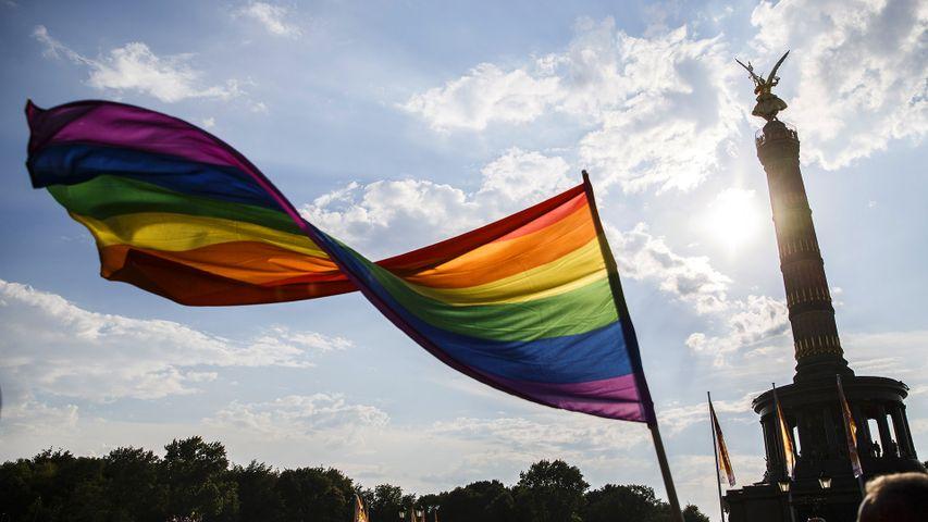 Ein Teilnehmer schwenkt die Regenbogen-Flagge auf dem 40. Christopher Street Day vor der Siegessäule am 28. Juli 2018 in Berlin, Deutschland