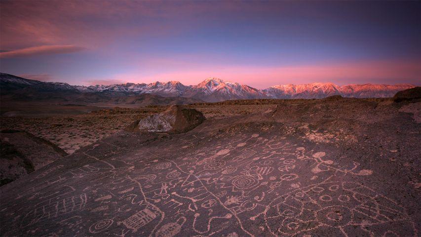 Sky Rock petroglyphs in the Volcanic Tablelands near Bishop, California