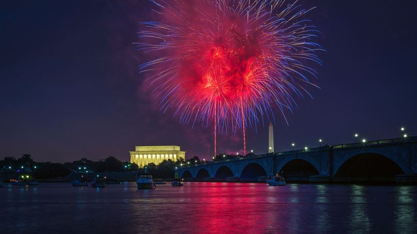 Independence Day fireworks over the National Mall, Washington, DC