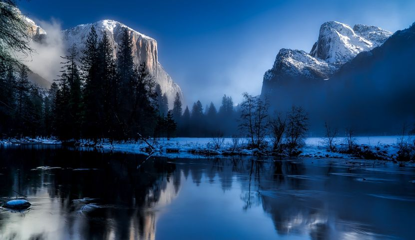 sky outdoor mountain snow nature landscape tree reflection