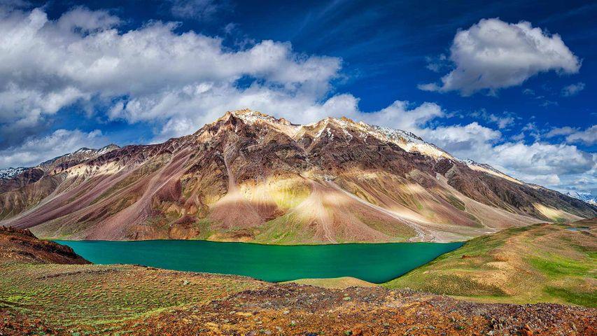 Chandra Tal lake in the Spiti region, Himachal Pradesh