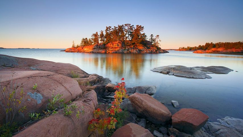 Sunrise at the mouth of the Chikanishing River, Killarney Provincial Park, Ontario, Canada