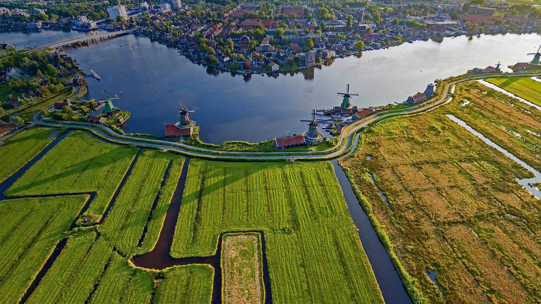 Historic windmills of Zaanse Schans near Amsterdam, Netherlands