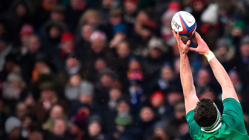 The ball is taken from a line-out during a Six Nations rugby match