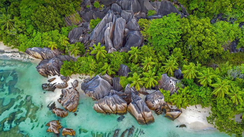 Rochers sur la plage Anse Source d'Argent, île de La Digue, Seychelles
