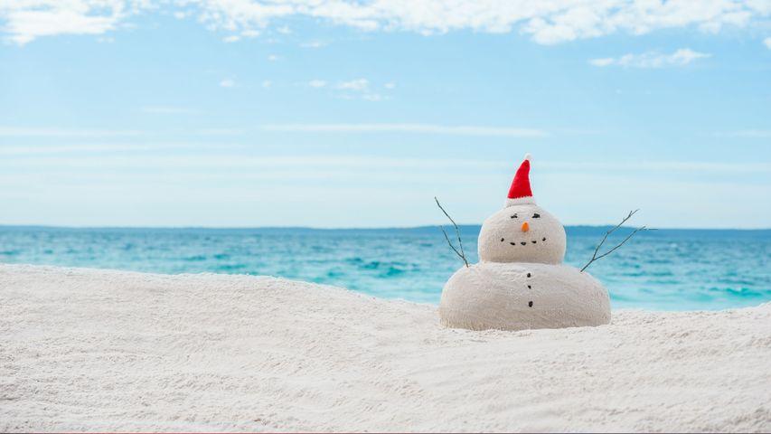 Australian Christmas sandman on a white sand