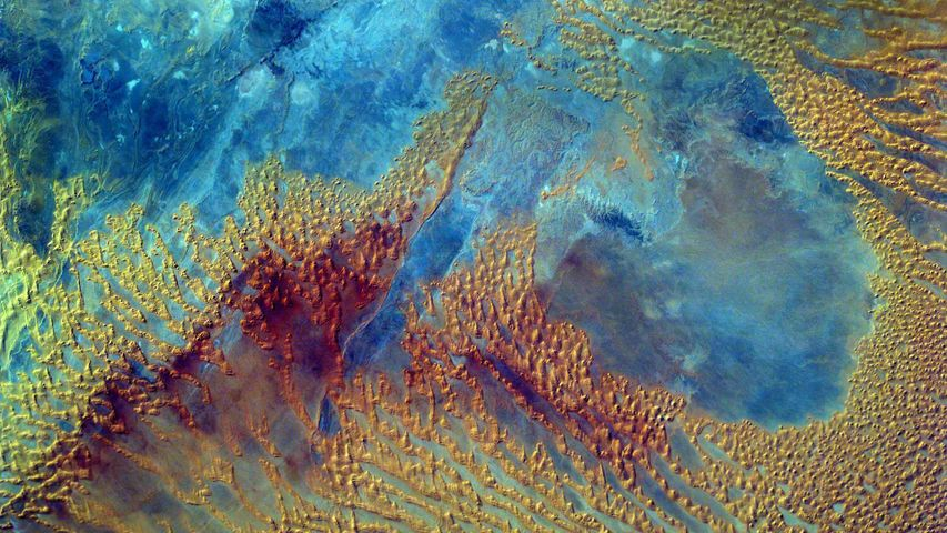 Middle school students programmed the Sally Ride EarthKAM on the International Space Station to photograph this part of the Sahara Desert