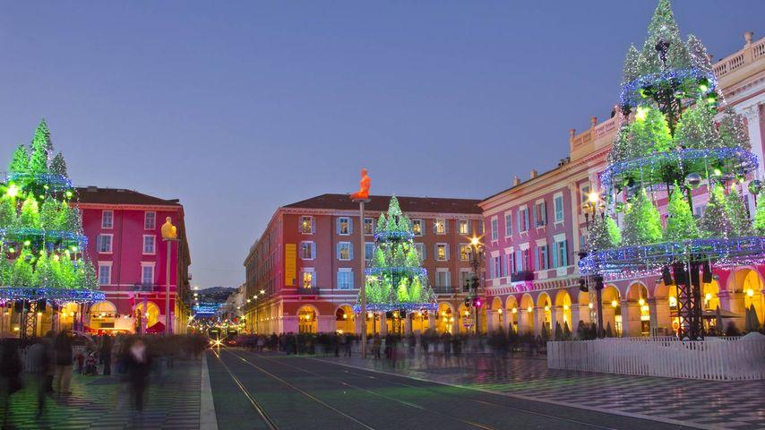 Place Masséna à Nice illuminée pour les fêtes, Alpes-Maritimes, Provence-Alpes-Côte d'Azur