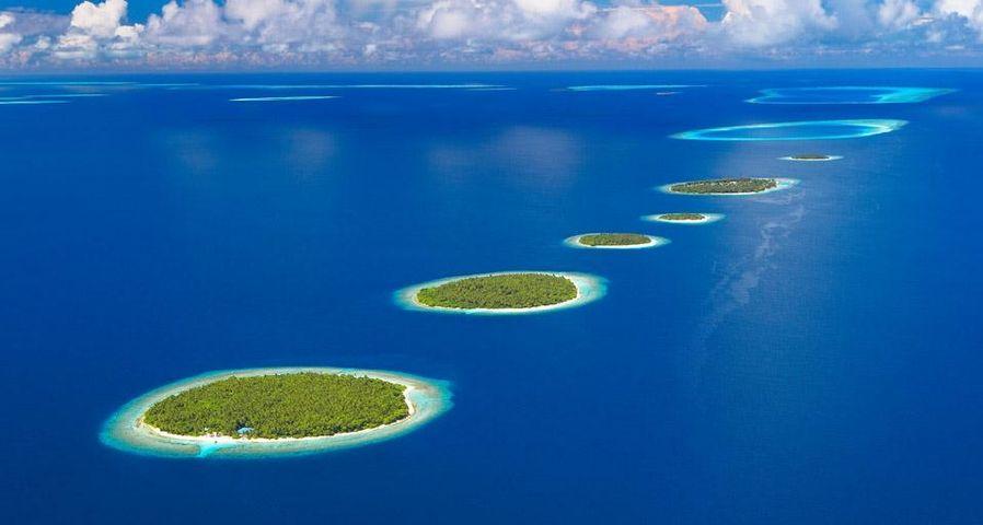 Aerial view of Southern Maalhosmadulu Atoll, Maldives