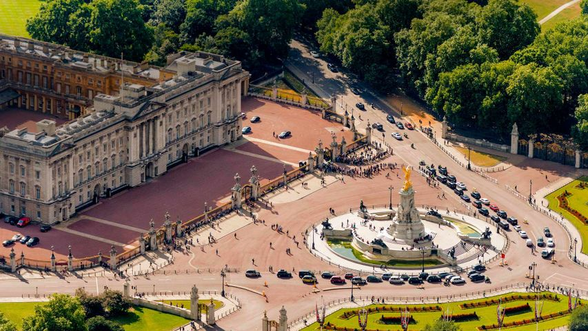 Buckingham Palace and Victoria Memorial in London for Queen Victoria's bicentennial year
