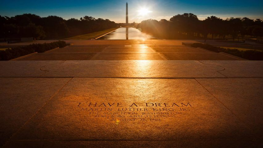 'I Have a Dream' inscription at the location of Dr. Martin Luther King Jr.'s speech on the steps of the Lincoln Memorial in Washington, DC
