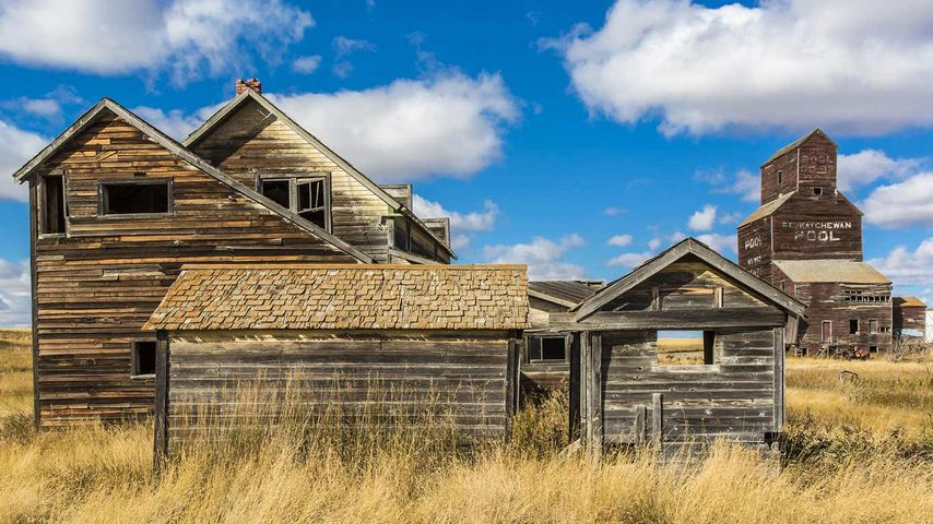 Buildings in an abandoned ghost town of Bents, Saskatchewan, Canada