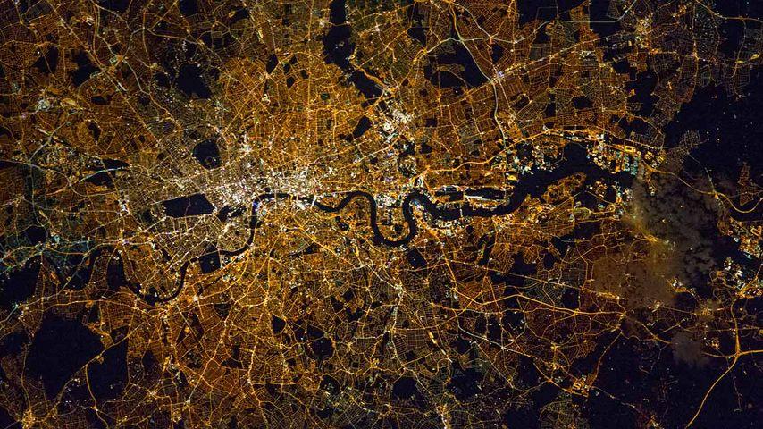 London und Umgebung, aufgenommen von der Internationalen Raumstation ISS