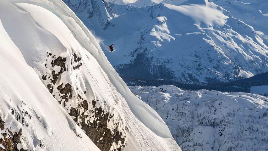 A snowboarder in Pemberton, B.C.