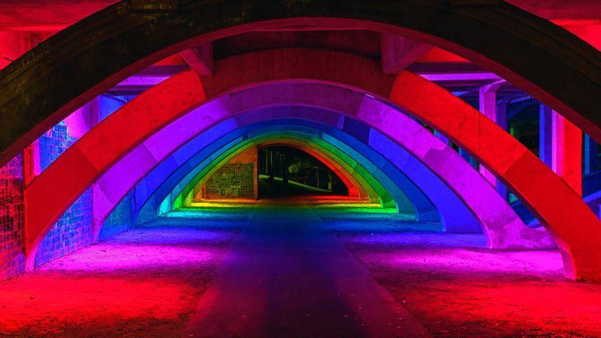 King William Bridge underpass illuminated in Adelaide, Australia