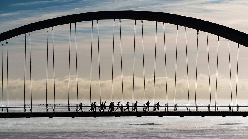 多伦多,亨伯湾拱桥上的一群慢跑爱好者