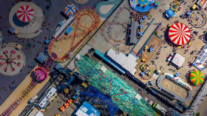 Amusement park rides at Coney Island, New York