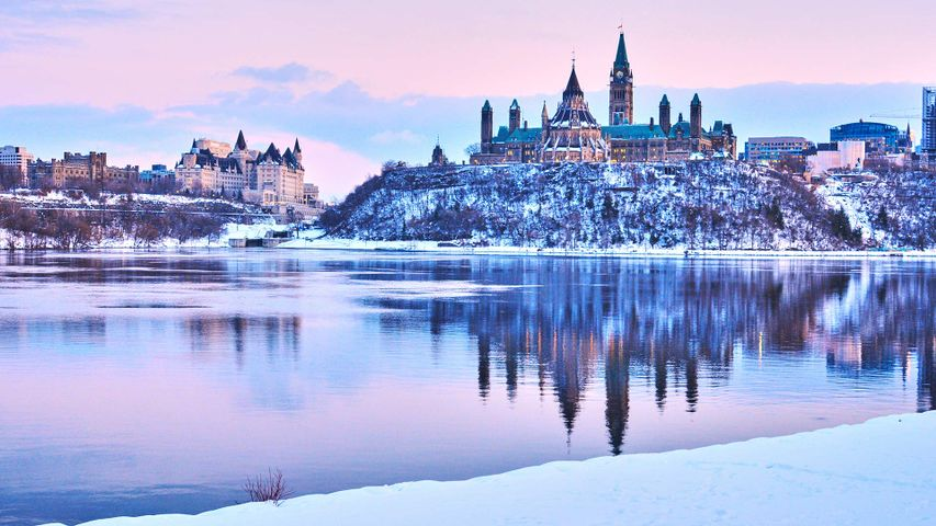 View of the Parliament Hill in winter, Ottawa