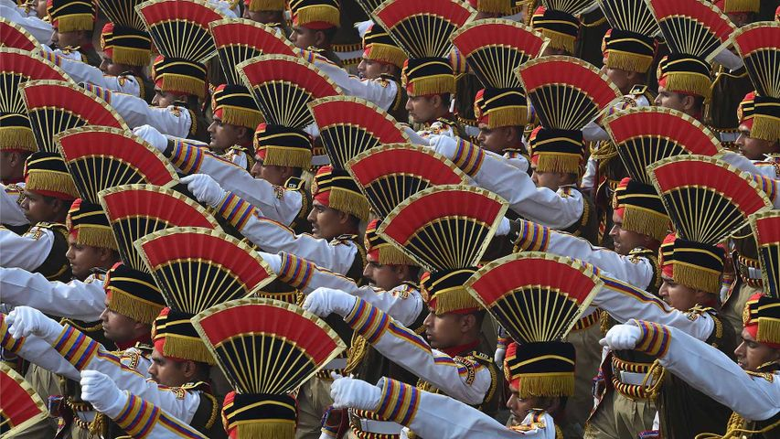 Police contingent march during a Republic Day Parade, New-Delhi