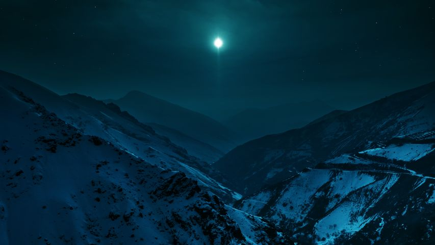 snow outdoor mountain moon landscape nature